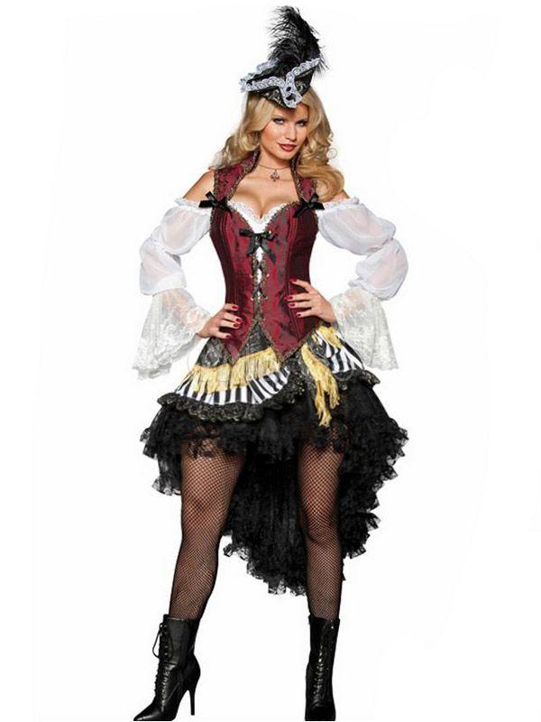 Costume de pirate rouge foncé pour femme