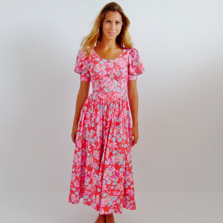 Vintage 80s Laura Ashley Pink Floral Cotton Summer Dress