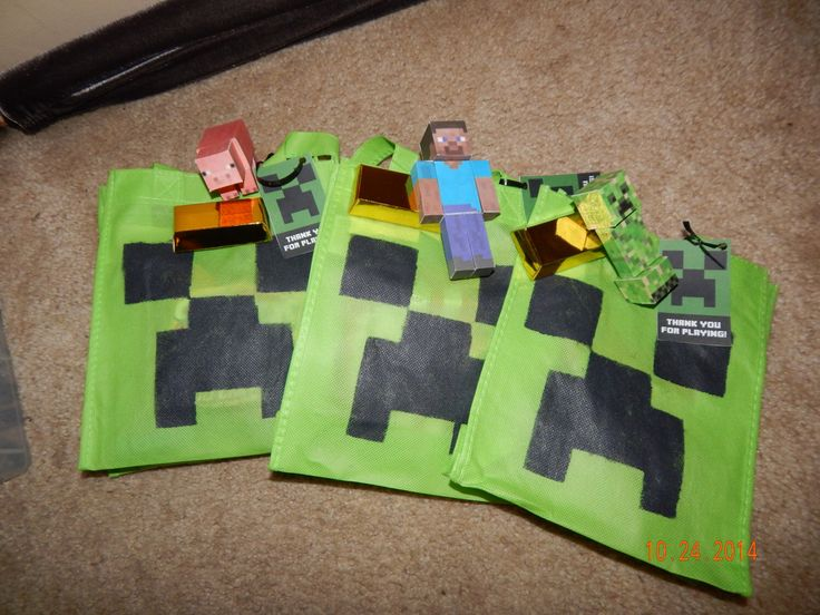 Reusable Minecraft Creeper Mini Tote Bag 12 Pack By MaggiesPartyMyriad On Etsy