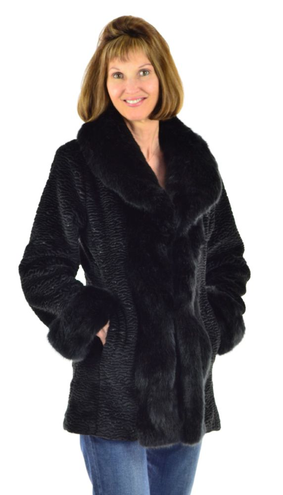 PERSIAN with FOX 31 Inch Faux Fur Coat by Silk & Sable