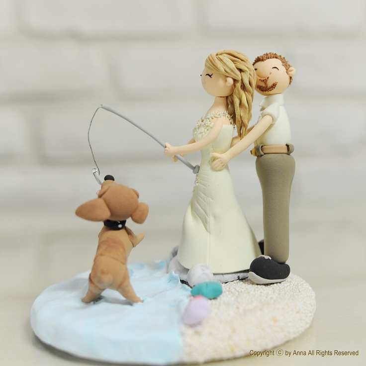 Wedding Cake Decorations Nz : Fishing at Beach, Lake theme custom wedding cake topper ...
