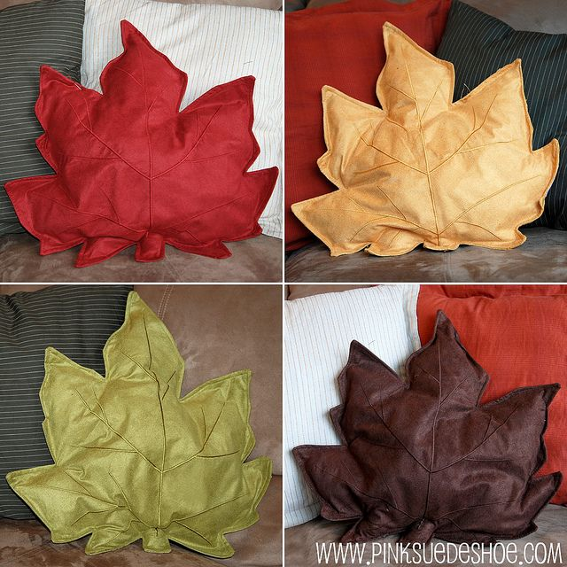 Fall Leaf Accent Pillows {Tutorial} Inexpensive placemats from Walmart. Rip the seam open a little, stuff them, and sew up the edge again. Super easy and super cute!!