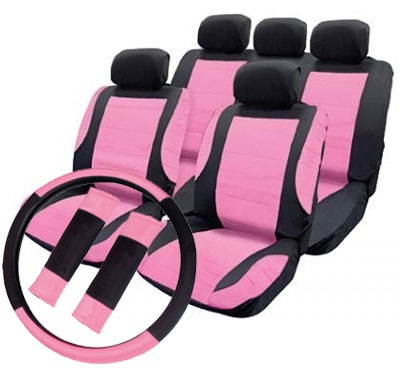 Pink Leather Look Car Seat Covers Styling Set