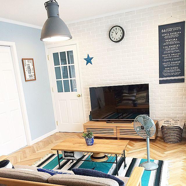 ニトリ×ストレージボックスのインテリア実例   RoomClip (ルームクリップ) Lounge/ダイソー/照明/IKEA/扇風機/タペストリー/ニトリ/unico/