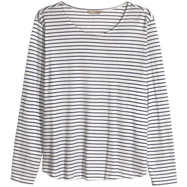 H&M+ Jersey print top ($10) ❤ liked on Polyvore featuring tops, shirts, blusas, h&m, tops/outerwear, plus size, white shirt, long sleeve tops, plus size long sleeve tops and white long sleeve top