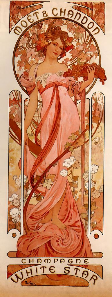 Champagne advertisement by Chzech artist Alphonse Mucha, often referred to as the father of Art Nouveau.
