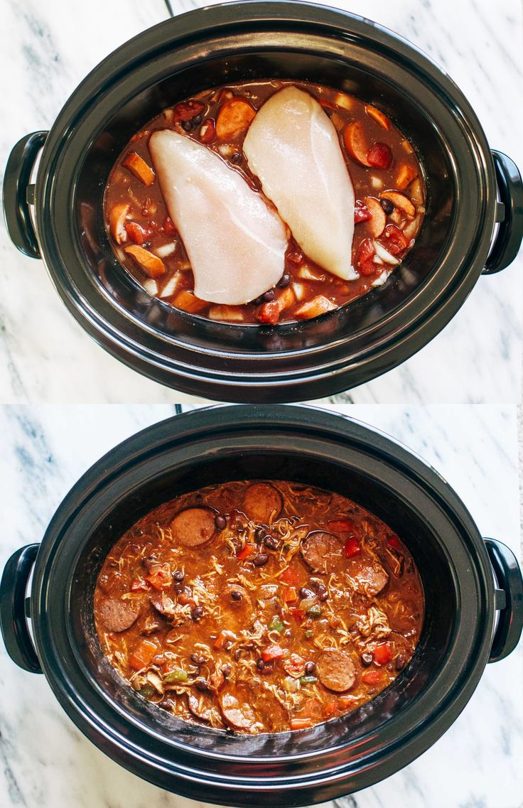 Slow Cooker Creole Chicken and Sausage | pinchofyum.com
