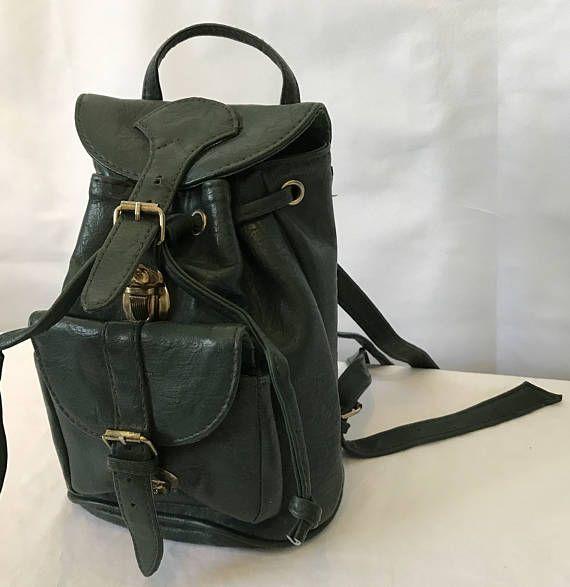Retro Green Leather Backpack Style Handbag Adjustable Straps
