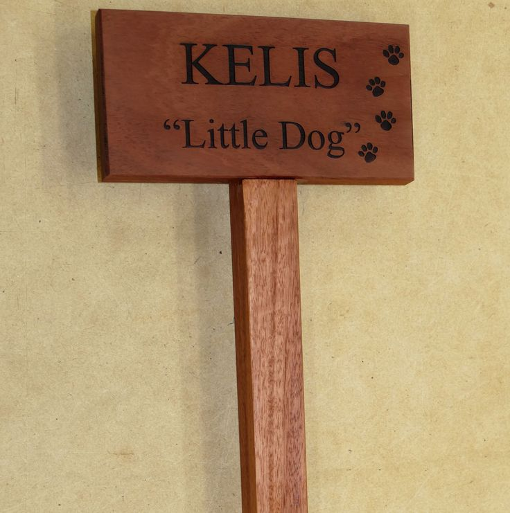 Garden memorial sign Example Australian Red gum Choose timber and optional motifs to engrave