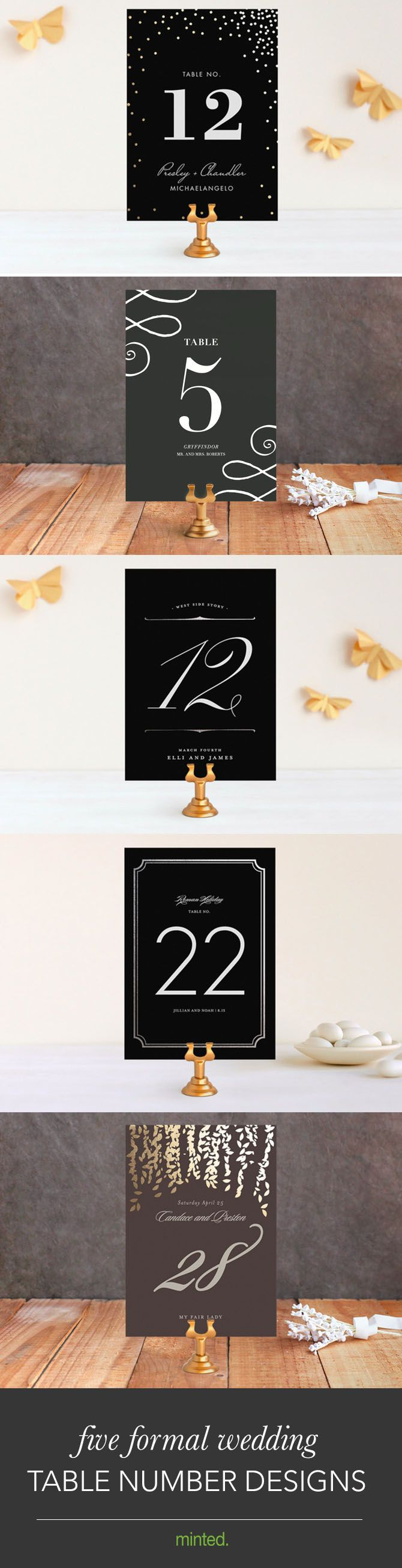 Wedding Reception and Decor Ideas for Tablescape - Customizable Table Numbers from Minted.