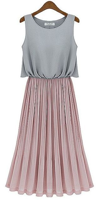 Grey and Pink Color Blocking Pleated Dress