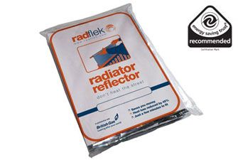 Radflek Radiator Reflectors - a reflector sheet you put behind your radiator to stop heat loss through the walls. Makes a big difference (we use them at home).
