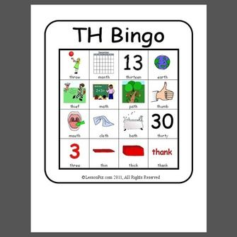 bingo game to target voiceless th in initial and final word positions - 4 bingo cards