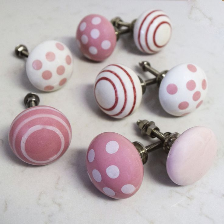 PKS37 - Set of 8 Pink and White Shabby Chic Ceramic Porcelain Cupboard Door Knobs suitable for chest of drawers, wardrobes & kitchen doors by Pushkaknobs on Etsy https://www.etsy.com/listing/237272127/pks37-set-of-8-pink-and-white-shabby