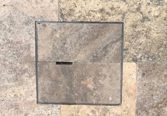 City Limits Landscapes- Pool Landscping- Custom Skimmer Box Lid disguised with Travertine Paving- Perth Landscapers