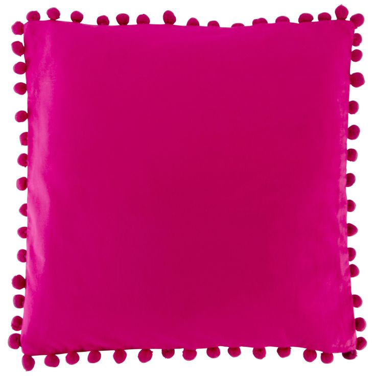 Fuchsia Pink Pom Pom Cushion in a shocking hot pink with pretty funky pom pom trims.Girly and glamorous cushion for any princess!More colours available.