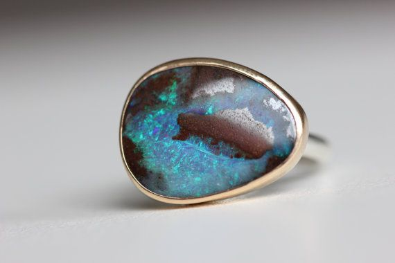 Boulder Opal Ring in Recycled 14k Gold and Sterling Silver - Flashy Gemstone Ring - October Birthstone Ring - Blue Opal Ring - Irridescent