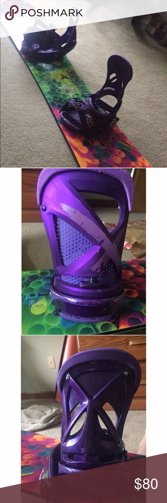 Purple Burton Lexa Channel Bindings  EST Medium Lexa Snowboard Bindings. BINDINGS ONLY. The bindings are still in good shape and very functional. The purple is peeling a bit where boot/pants rubbed. They are both Lexa Bindings but one was replaced and updated that's why they don't match. Any questions please ask!-this info is from the seller that I bought my board/bindings from. Burton Other