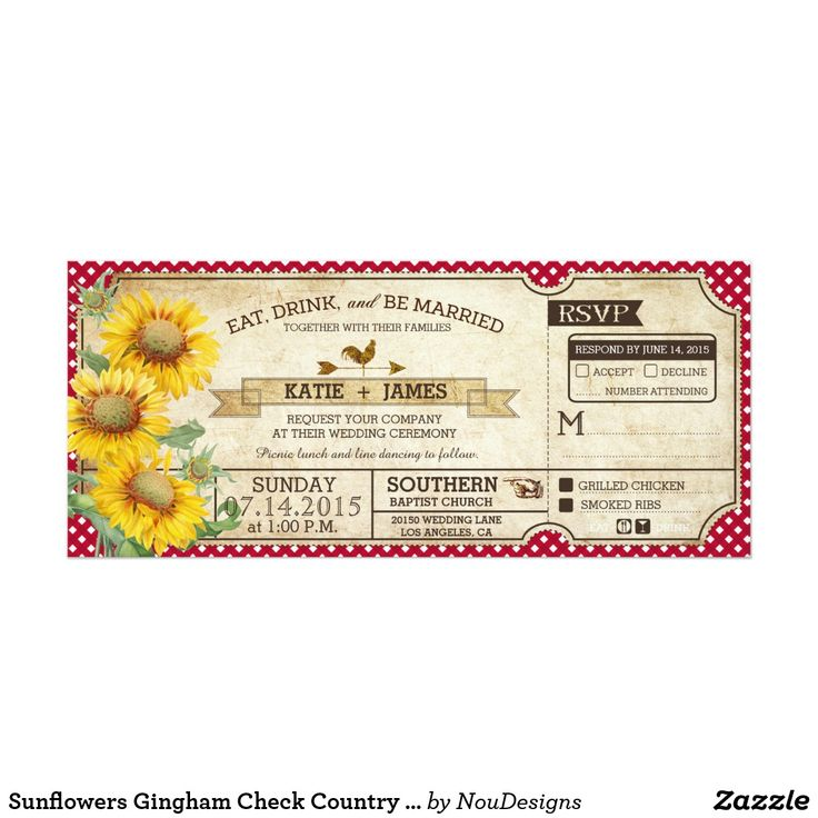 Sunflowers Gingham Check Country Picnic Wedding Card Sunflowers and red gingham check rustic design for a country picnic casual wedding. Fun wedding invites. Customize invitations for your weddings. #invitations #invites #weddings