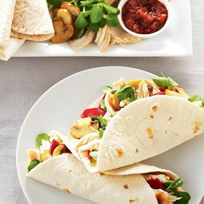 Use rotisserie chicken to make these time-saving chicken wraps with homemade wasabi spread. Find easy lunch recipes at Chatelaine.com.