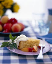 Peach Cake - my English friend Angela had Peach Cake at a very nice restaurant so I'm looking for a recipe to duplicate it.