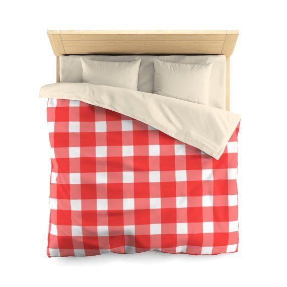 Sale 10 Off Gingham Checkers Grid Red Duvet Cover Duvet Etsy Red Duvet Cover Guest Room Bed Best Bedding Sets