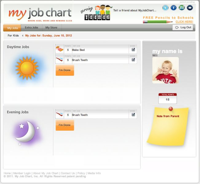 Kids Earn Rewards for Chores on Myjobchart.com    I use this for my kids, love it!!