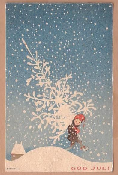 God jul - Merry Christmas by Swedish Illustrator - Einar Nerman (1888-1983), 1919