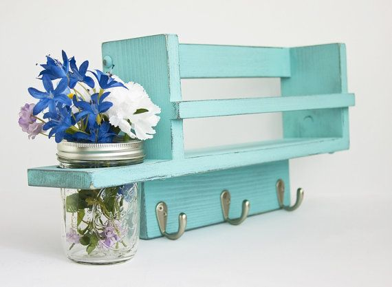 Country Spice Rack with 3 hooks and Mason Jar Vase in distressed Turquoise Bay - Twigs Decor on Etsy, $56.00