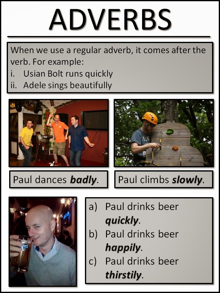 English learning material about adverbs