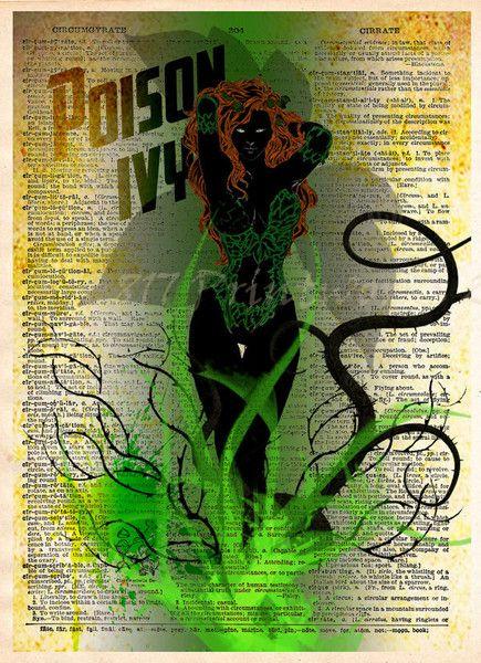 Poison Ivy Print, Vintage pop art, Retro Super Hero Art, Dictionary print art