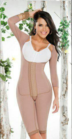 Ref/12172 Faja hasta la rodilla de tres niveles de broches senos libres con mangas