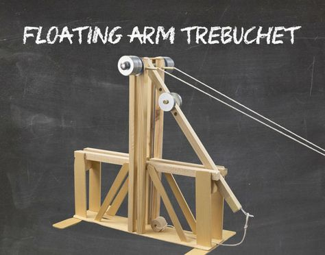 A modern take on an ancient war machine. This variation features a drop channel, which allows the counterweight to fall straight down rather than swing with the arm.