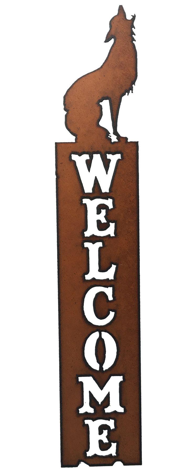 Rustic Metal Coyote Southwestern Home Decor Vertical Welcome Sign Front Door Welcome
