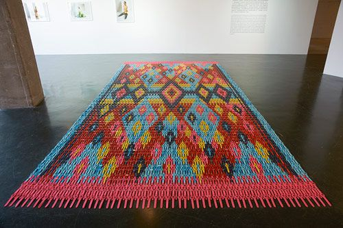 Rug  made from watches- Artist Heidi Voet
