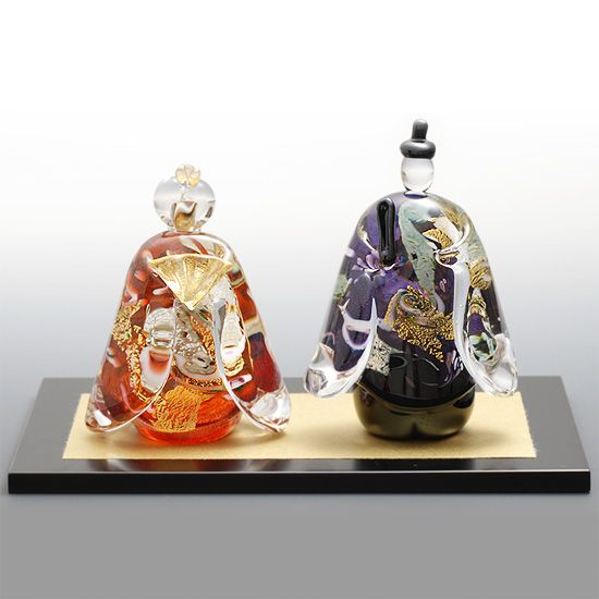 ガラスの雛人形 ガラスのひな人形 お雛様 桃の節句 手作り 送料無料