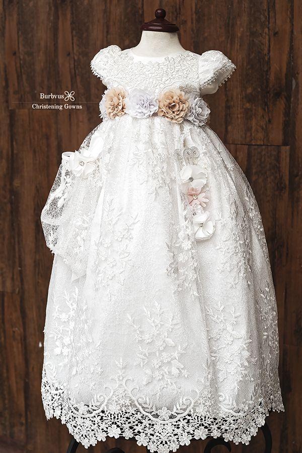 Baptism dress with pink flowers Baptism dress for baby girl Baptism dress for toddler girl Baptism gown girl Baptism outfit for girl