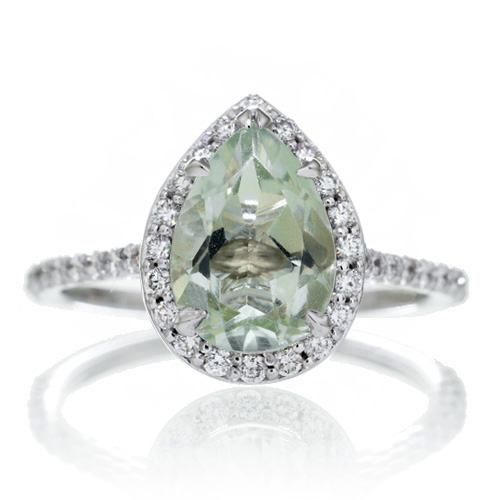 Green amethyst engagement ring