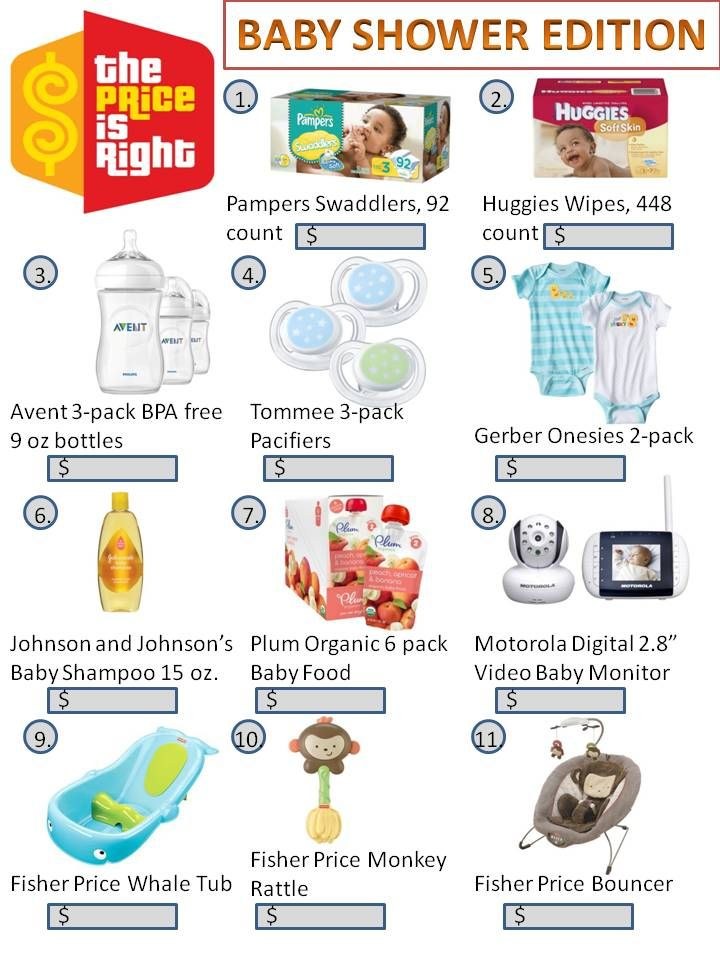 Baby Shower Game - The Price is Right | Baby Shower | Pinterest | Shower Games, Baby Shower ...