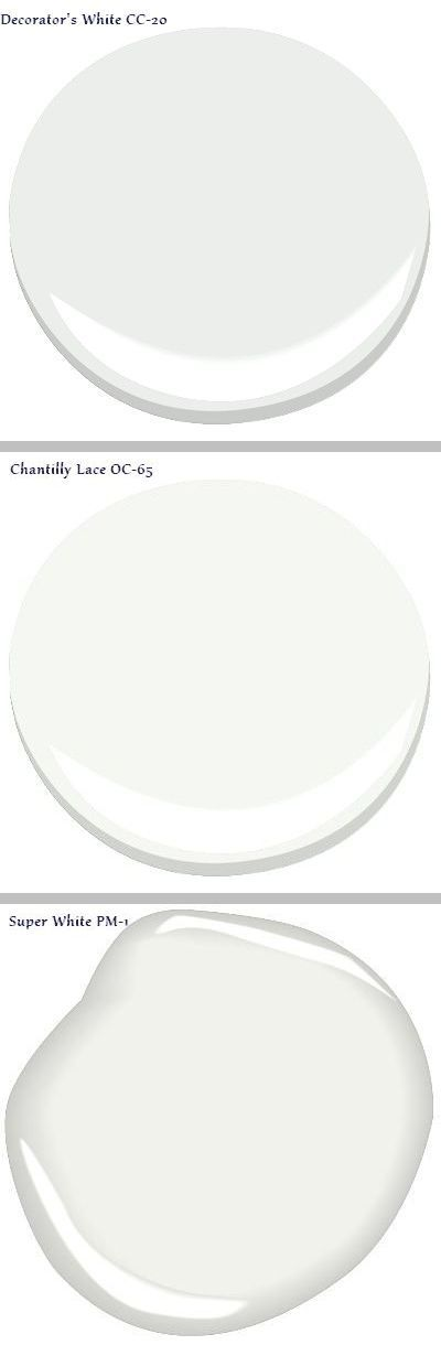 Houzz - Bright whites with little undertone: Benjamin Moore Decorator's White CC-20, Chantilly Lace OC-65, & Super White PM-1. Inside closets & cabinets  #home #interior_paint_color