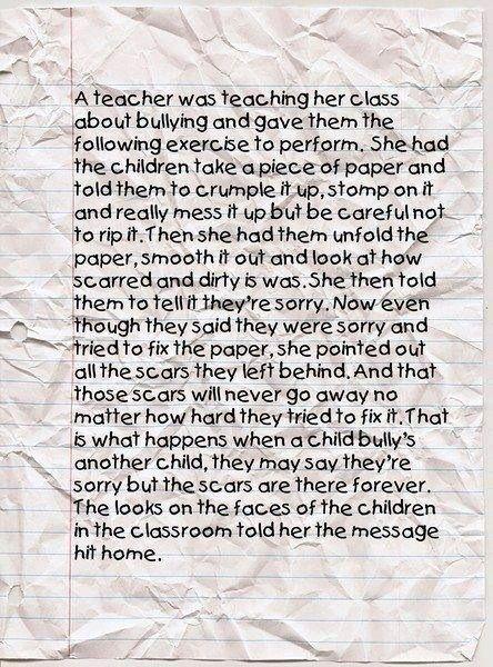 Crumpled paper bullying lesson: Teaching, Quotes, Anti Bullies, Antibulli, Kids, Teacher, Education, Bullies Lessons, Classroom Ideas
