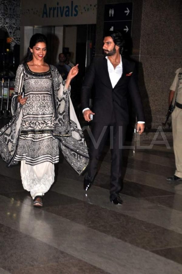 Deepika & Ranveer return from Jaipur