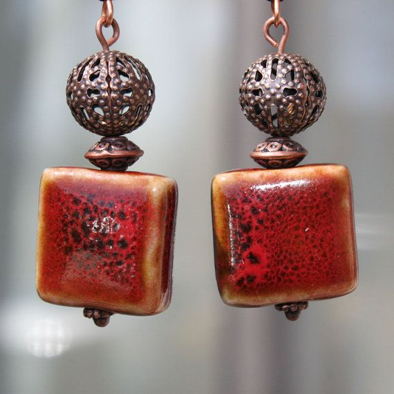 Red Earrings  Ceramic beads Earrings  Copper by LeBouiBouiaBouBou, $16.00