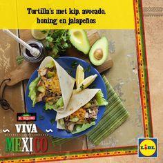 Recept voor Tortilla's met kip, avocado honing en jalapeños #Mexicaans #Tortilla #Lidl