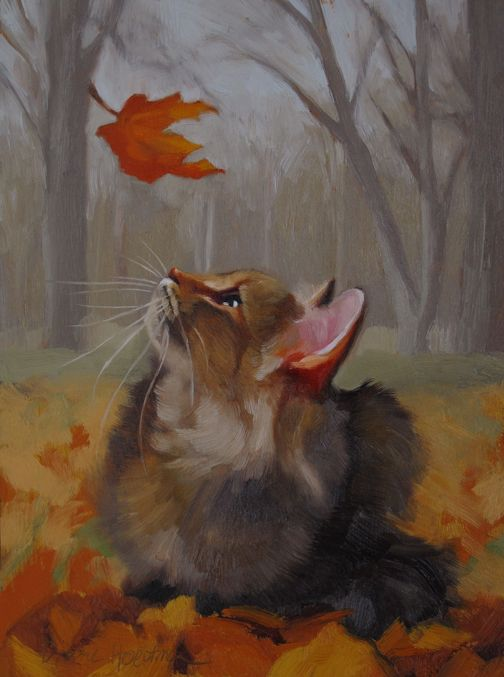 Last Leaf, a cat painting