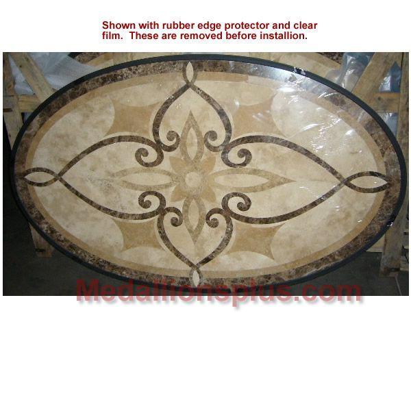 travertine oval medallion   Oval Stone Floor Medallion   Medallions Plus   productFind ...