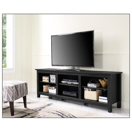 "Walker Edison - TV Stand for Most Flat-Panel TVs Up to 70"" - Black - Larger Front"