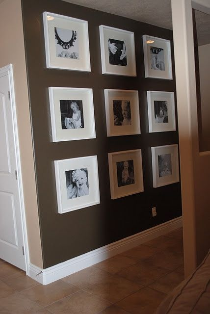 use Michaels $5 12x12 frames (record album frames). Black and white photos and 12x12 scrapbook paper for the mat