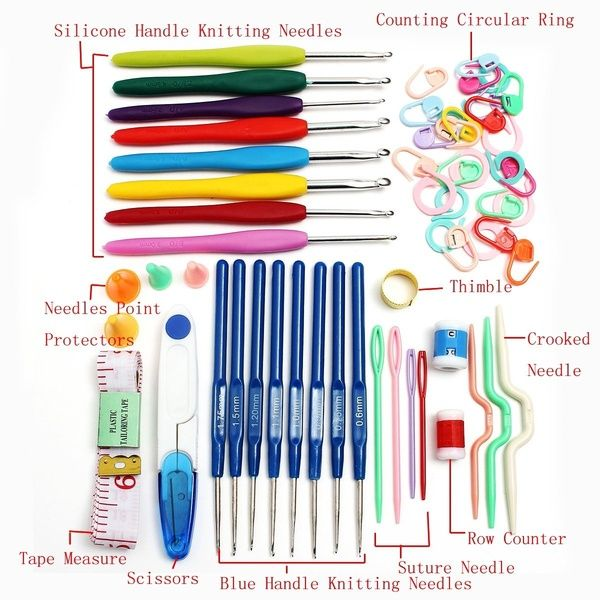 8x Multicolor Soft Plastic Handle Aluminum Crochet Hooks Knitting Needles Set LA