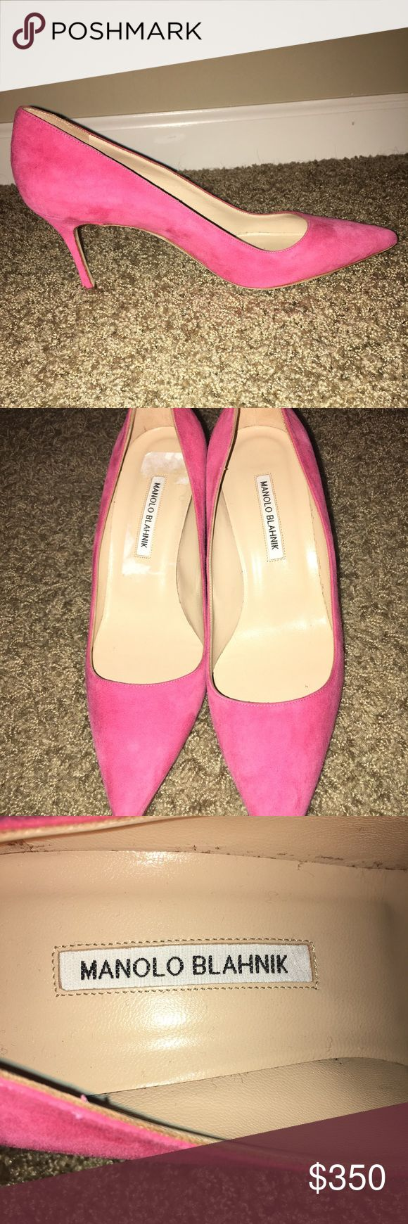 Manolo Blahnik pink suede heels, size 40.5 Beautiful pink suede Manolo Blahnik heels. Brand new, never worn! I purchased these on consignment for $700. I am a size 10 and these were too small for me to ever wear. No box or bag included. Open to offers, but no trades please. Manolo Blahnik Shoes Heels